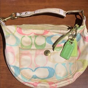 Coach Poppy Signature Hobo satin bag pastel colors